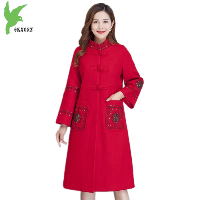 Women Autumn Winter   Trench   Woolen cloth Coat Plus size 5XL Embroidery Woolen Outerwear Ethnic style Middle aged Coats OKXGNZ1389
