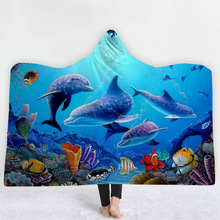Ocean Scenery Hooded Blanket For Adults Kids 3D Printed Soft Fleece Sofa Wearable Warm Throw Home Travel