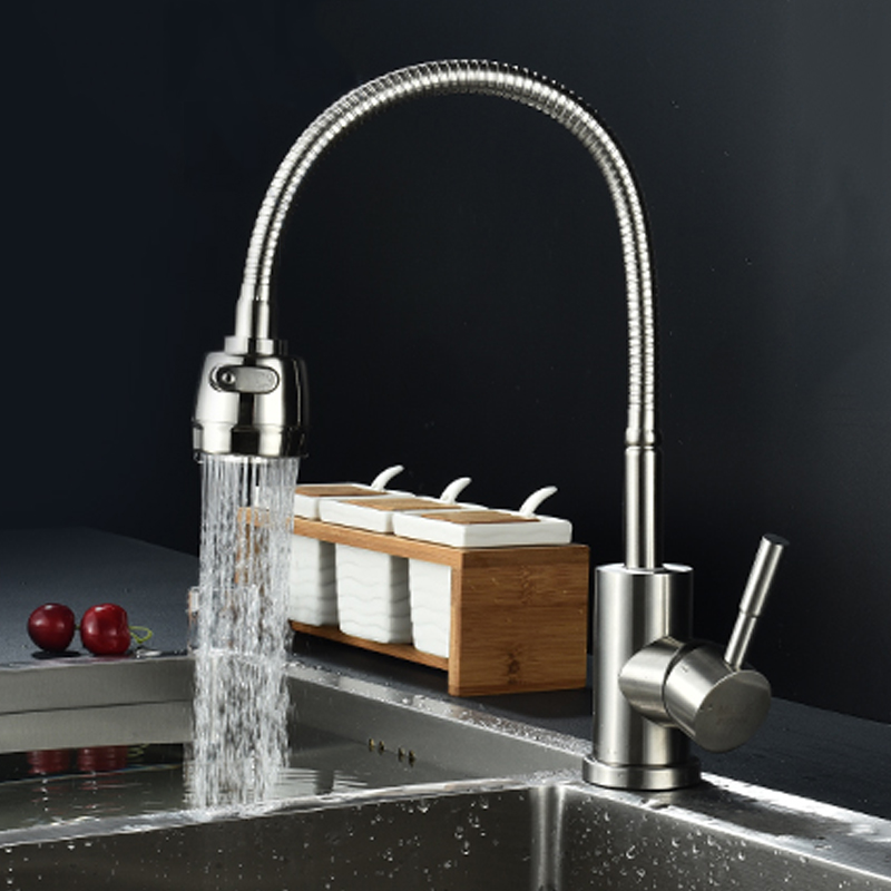 Free Shipping Stainless Steel Kitchen faucet Aerator Mixer Hot and Cold Kitchen Tap 2 Function Sprayer