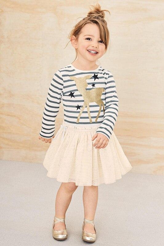 2019. gada zīmola meiteņu kleita ar jaunu pavasara brieža zvaigzni - Bērnu apģērbi - Foto 3