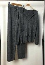 パンツ女性 フルウール本物のジャージをカスタマイズヨーロッパのファッショナブルな新しい秋/冬のフード付きセーターニットスーツ 2019