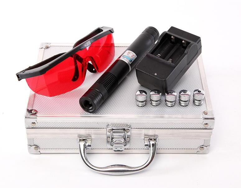 High Power Laser Pointer Pen 10 Mile Most Powerful 450nm 5000000m Blue Laser Pointer with Star caps Metal Box Charger glasses newest hight quality 450nm blue light laser pointer pen power beam 5 heads with charger with goggles with box