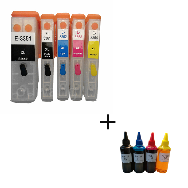 T33xl Refill ink cartridge T3351 T3361-T3364 For Epson xp530 xp900 xp830 xp645 xp635 xp630 xp540 xp640 ARC Chip 400ml dye ink