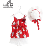 Retail 2 8 Years 3pieces Set Harness Printing Clothes Hat Pants Children Summer Fresh Style