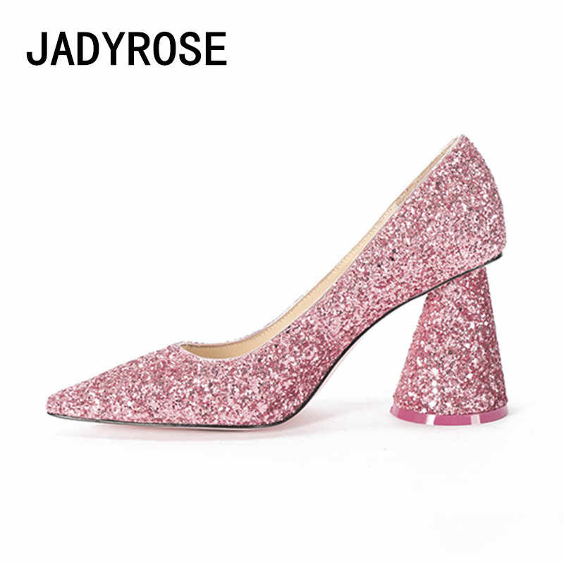 Women Pink Paillette Pumps Sexy Pointed Toe Formal Dress Party Prom Shoes  Square High Heels Design 87906662608b