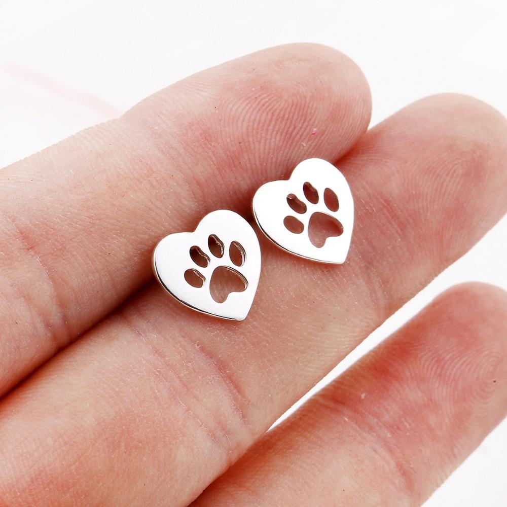 Oly2u New Arrival Heart stud earrings dog Paw Earrings For women Small earrings pendientes boucle d'oreille ED172