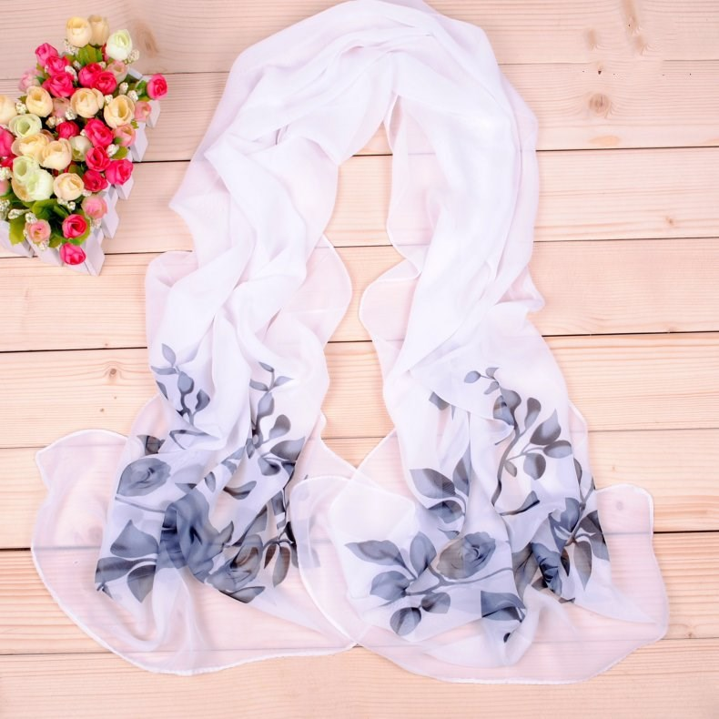 New chiffon printed silk scarf elegant fresh flower female small scarf wholesale spring summer fashion printed scarf in Women 39 s Scarves from Apparel Accessories