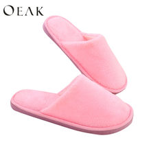 Oeak Home Slippers Women 2019 Winter Shoes Fluffy Slipper Candy Color Warm Plush Woman Indoor Cotton Shoe EVA Drop shipping(China)