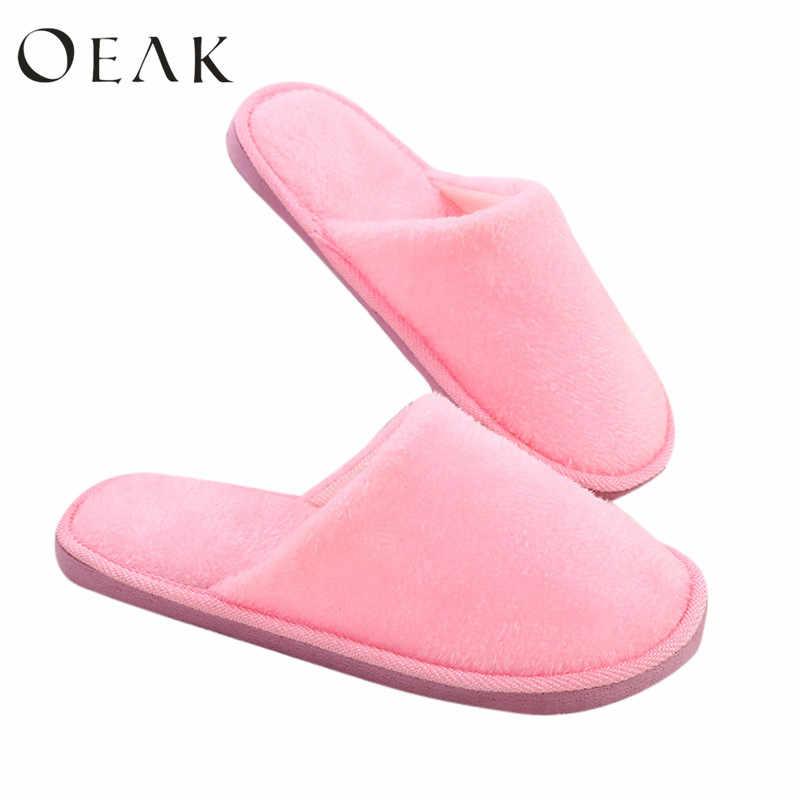 Oeak Thuis Slippers Vrouwen 2019 Winter Schoenen Fluffy Slipper Candy Kleur Warm Pluche Vrouw Indoor Katoen Schoen EVA Drop Shipping