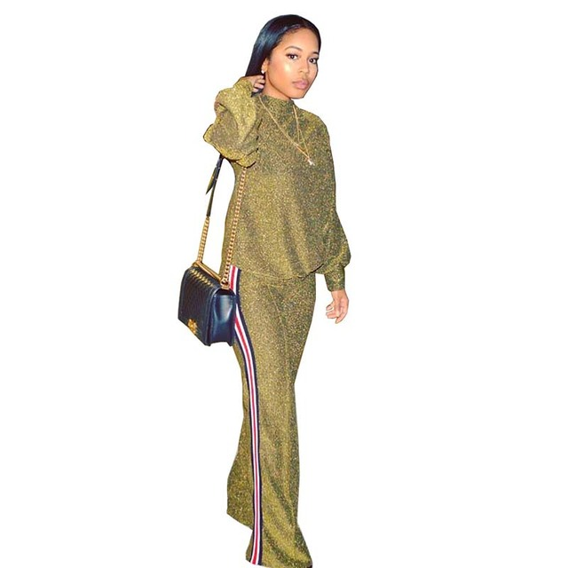 aa7141aa9c9e7 New Two Piece Set Women Fashion Autumn Winter Tracksuit Gold Glitter Leisure  Metal Ribbon wide leg