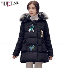 HIJKLNL parkas mujer invierno Plus Size Women Winter Long Jacket Coat Embroidery Hooded Fur Collar A-Line Loose Padded NA290