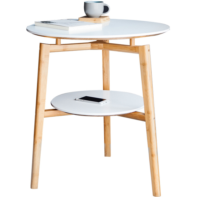 Round Table Assemble Double Layer Square Coffee Table Bamboo