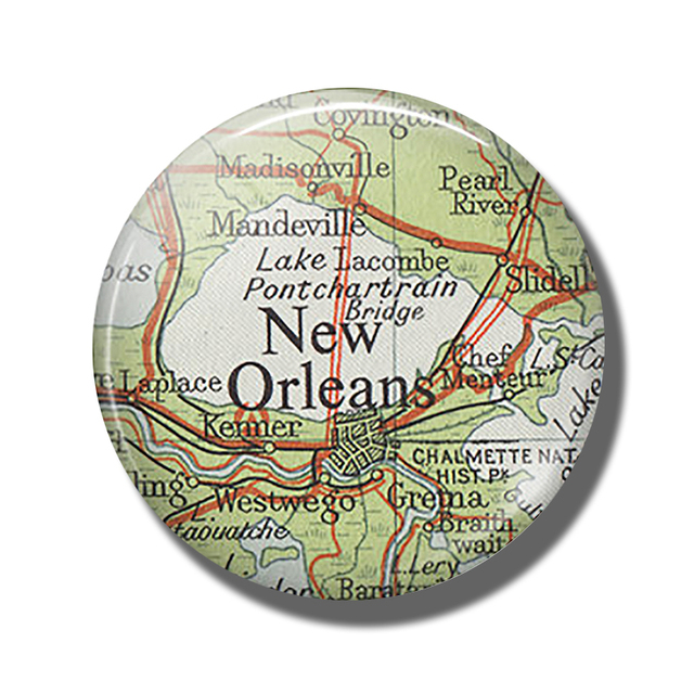 Louisiana New Orleans Map.New Orleans Map 30mm Fridge Magnet State Of Louisiana Map Glass