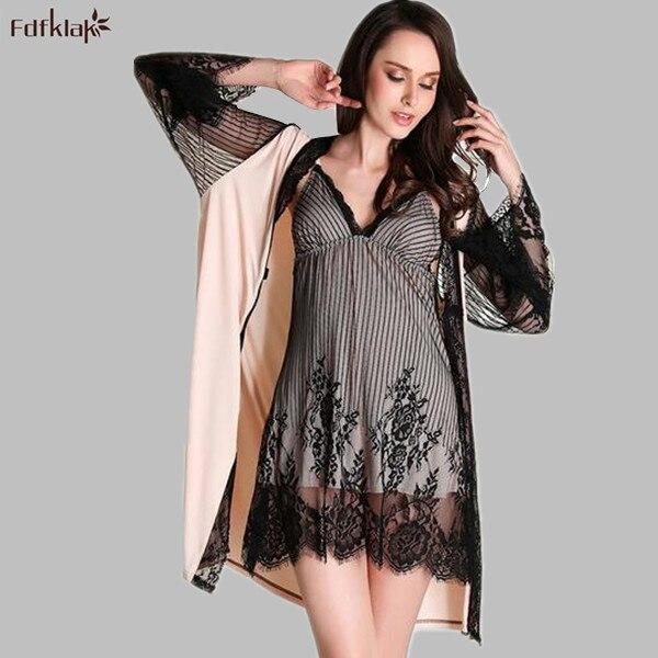 Silk Dressing Gowns Ladies: High End Brand Silk Lace Robe Set Thin Ladies Summer Robes