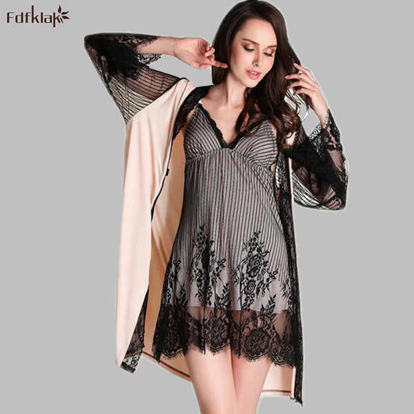High End Brand Silk Lace Robe Set Thin Ladies Summer Robes Sexy