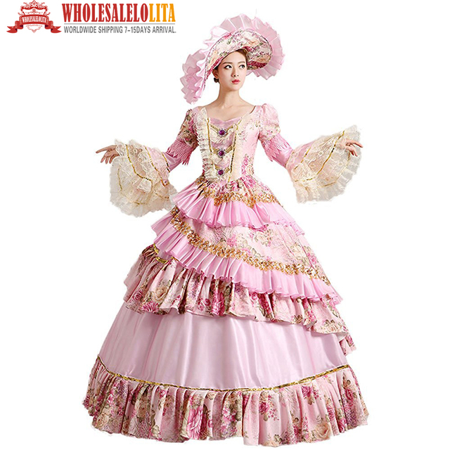 b97087c1b2c1d US $128.0 |HOT !!! Global Freeshipping 18th Century Renaissance Medieval  Marie Antoinette Rococo Princess Belle Gown Costume-in Holidays Costumes  from ...
