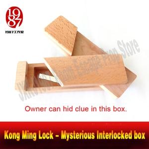 Quarto jogo de escape prop caixa de Bloqueio Kong Ming-Misterioso Intertravado obter as pistas escondidas no box real- câmara de vida takagism