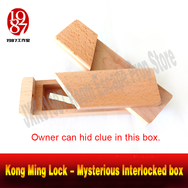 Room escape game prop Kong Ming Lock - Mysterious Interlocked box get the clues hidden in the box real-life chamber takagism