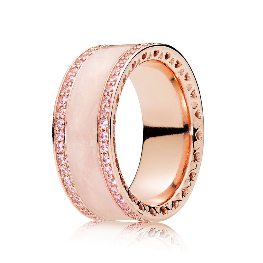 925 Sterling Silver Charms Ring With Rose Gold Wide Pink Enamel Crystal Ring For Women Jewelry brand white shell crystal star chain ring 925 sterling silver pearl shell rose compass cuff ring women wedding vents jewelry
