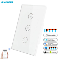 Smart WiFi Dimmer Light Switch Glass Touch Panel Wireless Remote Timing Function Control work with Alexa Google Assistant 1 Gang