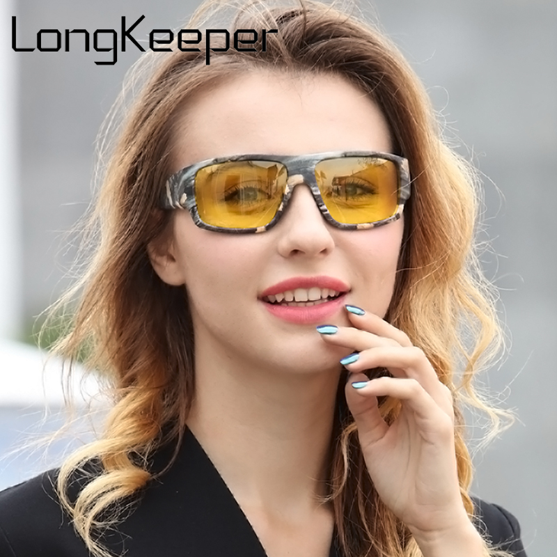 LongKeeper 2018 New Night Vision Sunglasses Women Brand Designer Polarized Driving Enhanced Light At Rainy Cloudy Fog Day