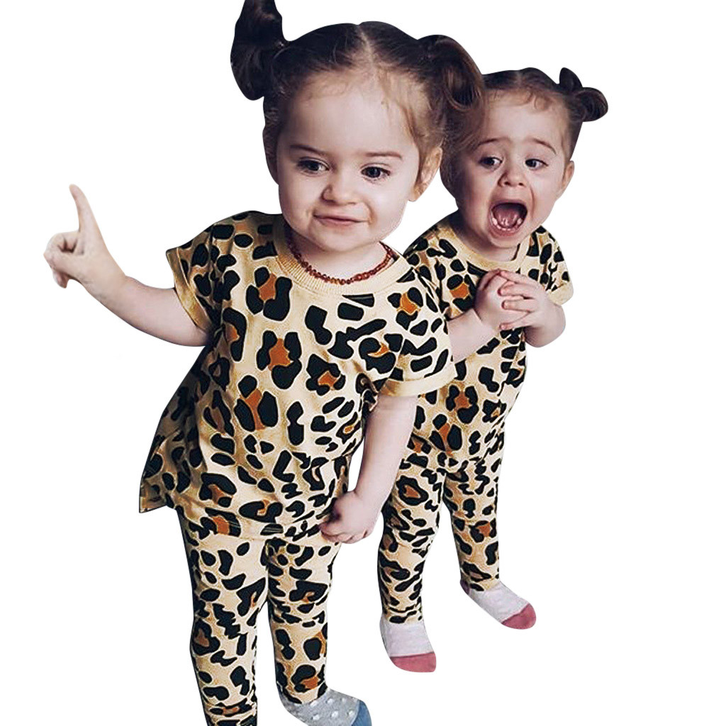 MUQGEW Baby Girl Clothes Toddler Kids Baby Girls Leopard Print T Shirt Tops Pants 2PC Outfits Sets Dropshipping Roupa Infantil