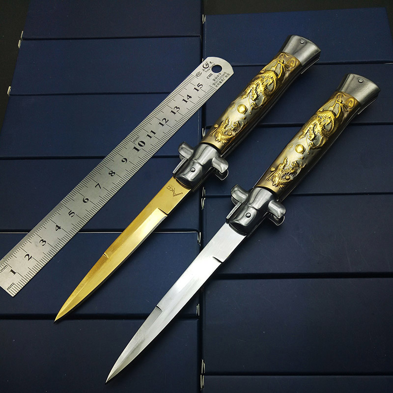 Godfather Folding Blade Italy Personalized Knife Dragon Carved Hunting Pocket Survival Tactical Knives Traveling Gift for man