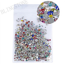 Mix Sizes 1000PCS/Pack Crystal Clear AB Non Hotfix Flatback Rhinestones Nail Rhinestones For Nails 3D Nail Art Decorations Gems 1pack mix sizes crystal flame rainbow non hotfix flatback glitter nail rhinestones nails accessories nail art decorations strass