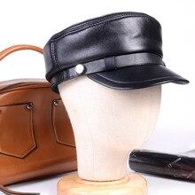 Womens Mens Genuine leather Black Unisex Leisure cap Military Newsboy Army Flat Hats/Caps