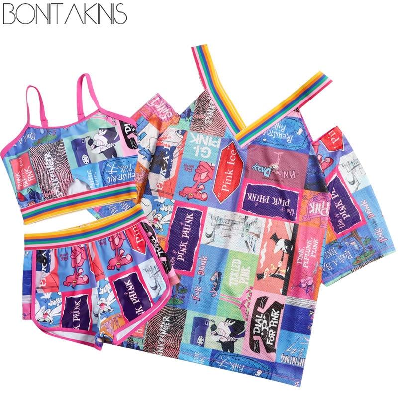 7454f472cc227 Bonitakinis Swimsuit female 2019 sports 3 piece set Conservative Korean  Students beachwear Spa Swimwear Running GYM