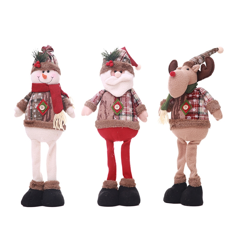 1Pc Christmas Doll Standing Long Leg Santa Claus Home Party Decoration Ornaments Hot New santa claus holiday printed pillow case