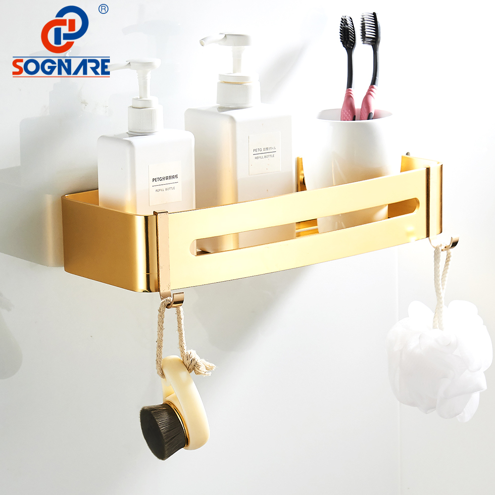 SOGNARE Black Bathroom Shelves Single Tier With 2 Hooks Rectangle ...