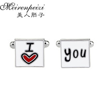 Hot Sale New Romantic I Love You Lovers/Couple France Cufflinks Fashion French Shirt/Blouse Square For Women/Men