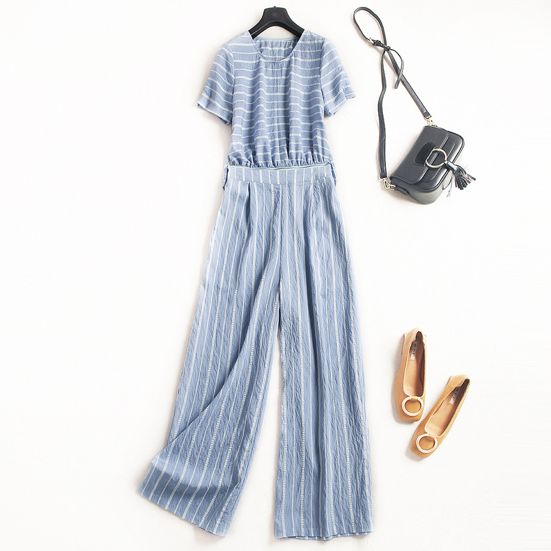 Striped short sleeve loose full length pants jumpsuits 2018 new runway women summer jumpsuits high quality office lady jumpsuits