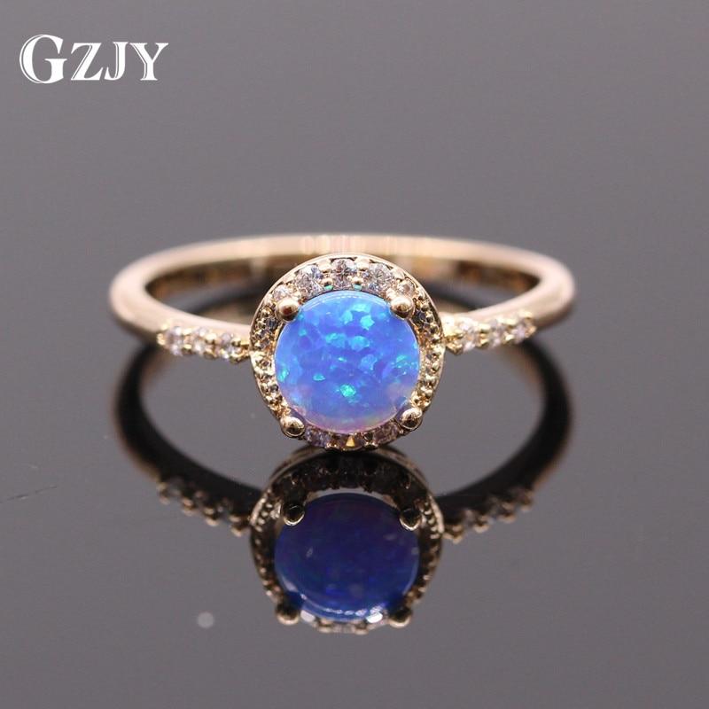 GZJY Beautiful Jewelry Bule Fire Opal Champagne Gold Color Ring Zirconia Wedding Rings For Women Fashion