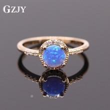 GZJY Beautiful Jewelry Bule Fire Opal Champagne Gold Color Ring Zirconia Wedding Rings For Women Fashion Jewelry