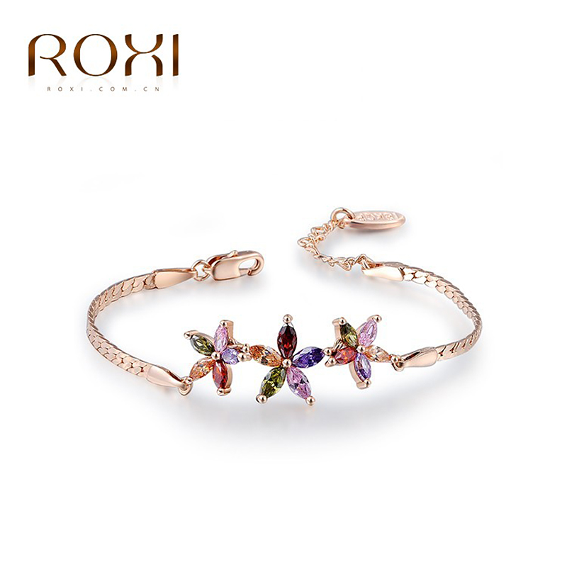 2017 ROXI Rose Gold Star bracelet,High Quality products,Austrian crystal,wedding /girl gifts,party bracelets,