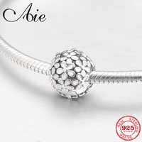 Runde 925 Sterling Silber mode weiß emaille blümchen feine clips Perlen Fit Original Pandora Charme Armband Schmuck machen