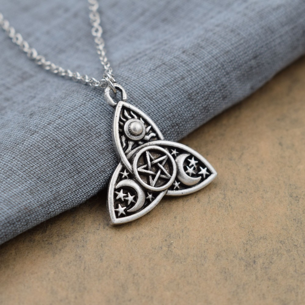 Triquetra Moon Pentacle Necklace