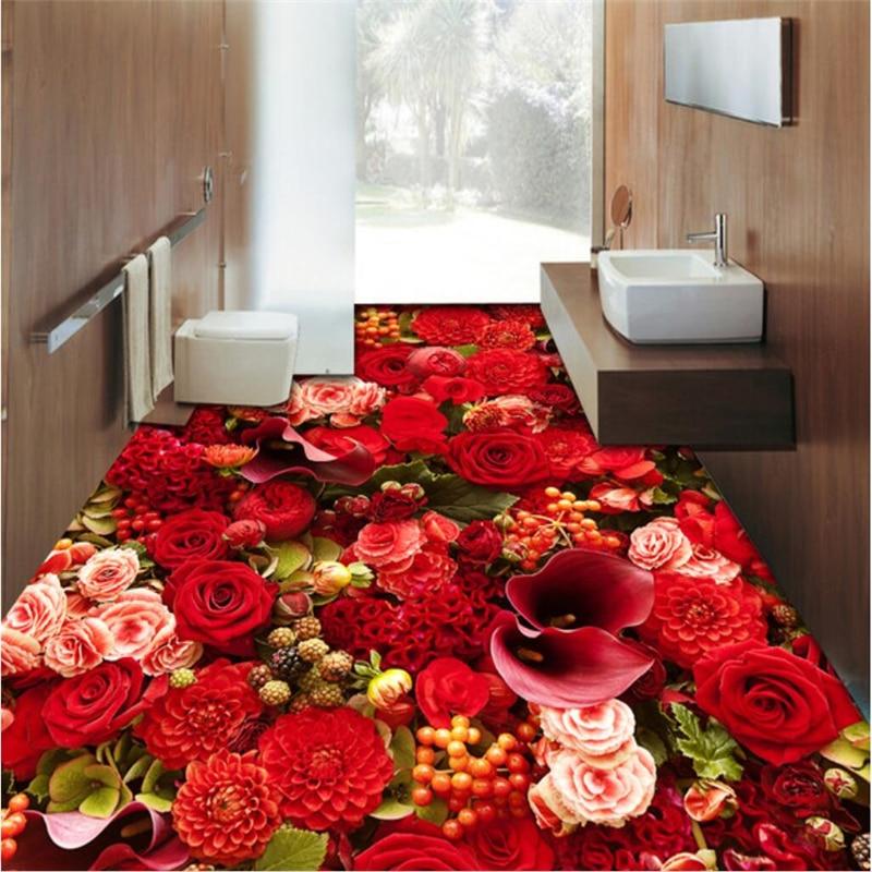 Us 17 7 41 Off Beibehang Custom Wallpaper Mural Any Size Photo Hd Aesthetic Rose Sea Living Room 3d Waterproof Wear Resistant Floor Tiles In