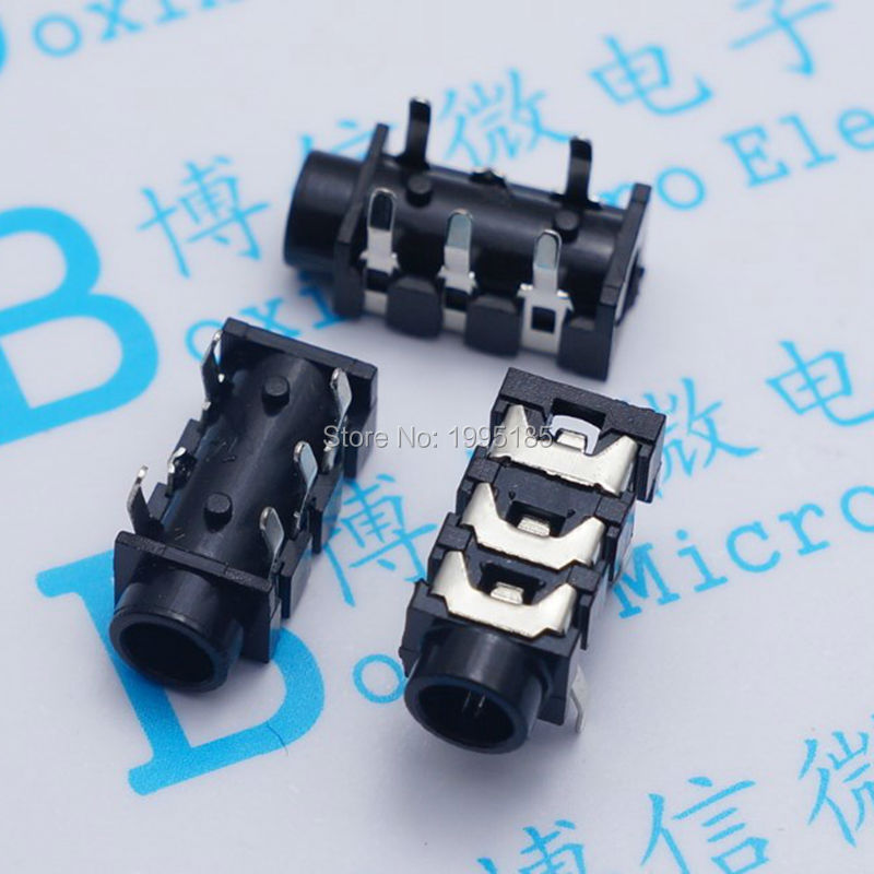 10Pcs <font><b>3</b></font>.5mm 5Pin Stereo Headphone Audio <font><b>Jack</b></font> Earphone Socket Audio Socket PJ313 The <font><b>3</b></font> Section Of the <font><b>5</b></font> pin image