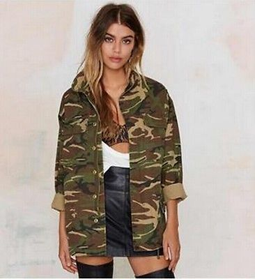 Women Vintage Military  Classic  Bomber shirt Camouflage blause wear for femme girl blouse clothes