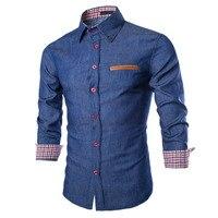 Plus Size New Fashion Men Shirt Casual Long Sleeve Denim Shirts Fashion Slim Fit Business Camisa