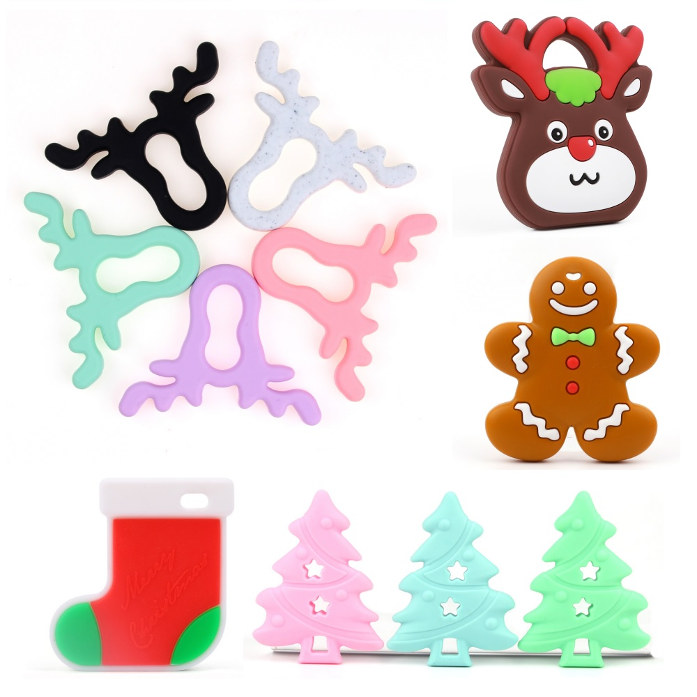TYRY.HU 1PC Baby Teether Cartoon Elk Sock Christmas Tree Toy Food Grade Silicone Teether BPA Free DIY Christmas Decoration Gift