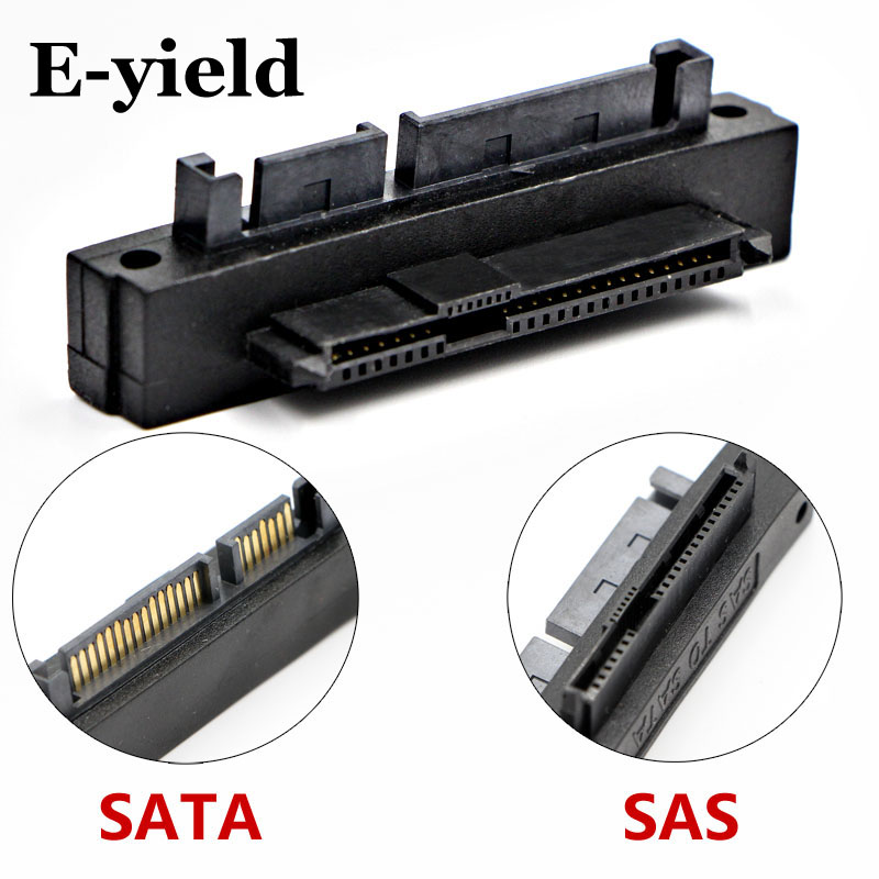 E-yield 90 Degree Right Angled SATA 22Pin 7+15 Male to SFF-8482 SAS 22 Pin Female Extension Convertor Adapter for Hard Disk Dri professional sff 8482 sas to sata 180 degree angle adapter converter straight head perfect fit your device