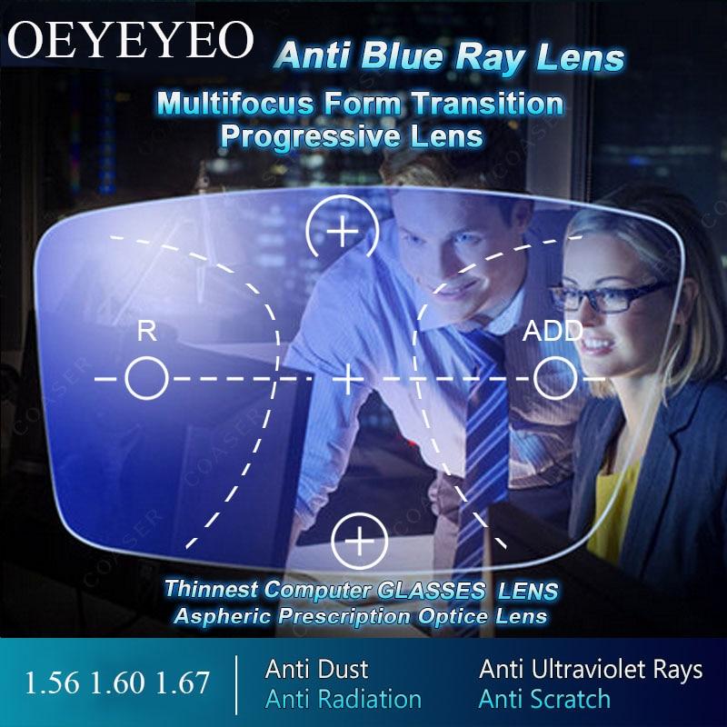 Verres optiques de Prescription Progressive de forme libre de lentille de rayon Anti-bleu au-delà de la lentille de bloqueur bleue UV pour la Protection des yeux chaude