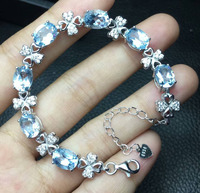 Oval Real Natural Sky Blue Topaz Bracelet 100% 925 Sterling Silver Bracelet Stamped S925 Women Jewelry with 7+1extension Chain