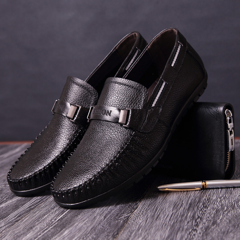 Italian Man Shoes Genuine Leather Black Loafers Men Casual Shoes New Handmade Breathable Soft Mens Driving Shoes Chaussure Homme in Men 39 s Casual Shoes from Shoes