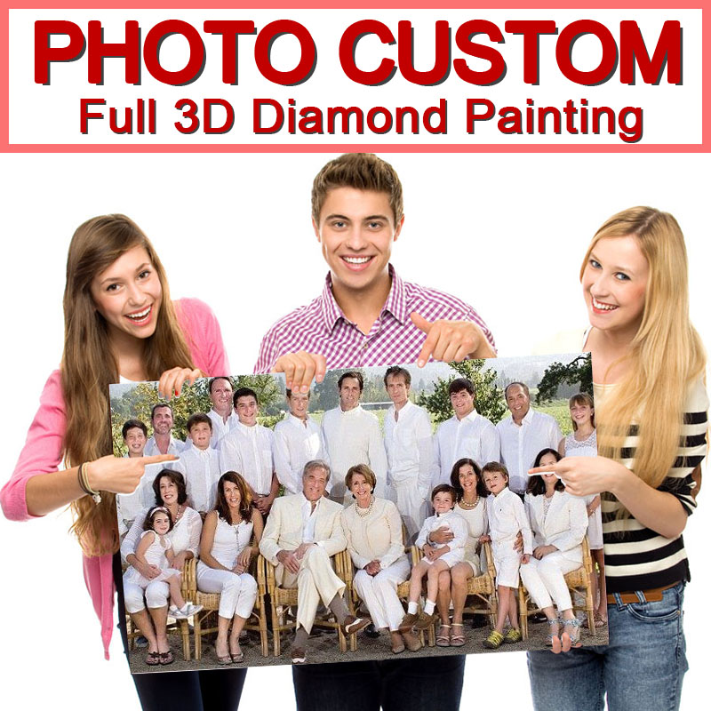 5D DIY Diamantmaleri! Privat tilpasset! Foto tilpasset! Lag din egen Diamond Painting Full Drill Diamond Rhinestone Broderi