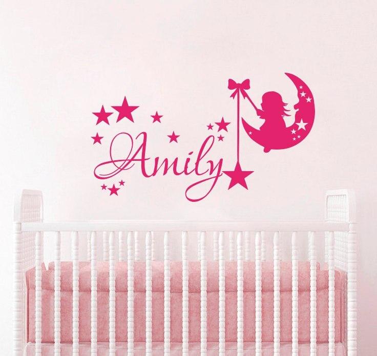 Moon Stars Personalized Name Wall Decals Vinyl Girls Room Wall Stickers Kids Nursery Art Mural Beauty Baby Name Custom DIYSYY400